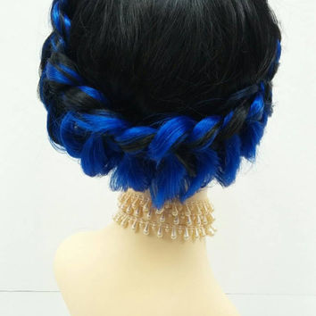 Black and Blue Swiss Braid Wig. Petite Size Wig. Heat Resistant Boho Braid Wig. [27-166-Princess-1B/Blue]