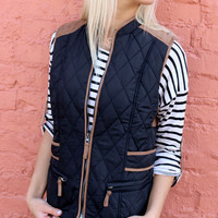 Zen Gardens Black Quilted Puffer Vest With Micro Suede Trim