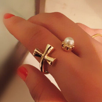 Gift New Arrival Shiny Stylish Jewelry Cross Pearls Ring [6586077703]