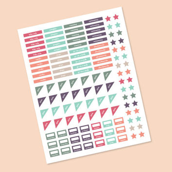 Planner stickers, workout exercise stickers, 121 stickers, Coral and teal colors, erin condren planner stickers, instant download