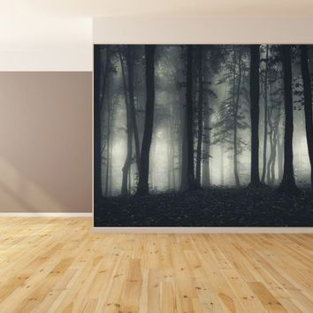 Eerie Trees Fog Custom Designed Wallpaper Peel and Stick