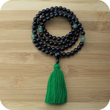 Black Onyx Mala with Green Aventurine