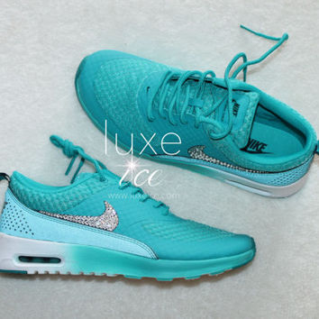 Nike Air Max Thea Premium w Swarovski Crystals detail - Turbo  Green Metallic Silver Wh 3c90dca1ad