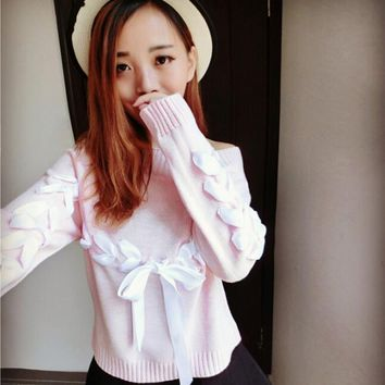 2016 Autumn new sweet word ribbon bow tie knit sweater