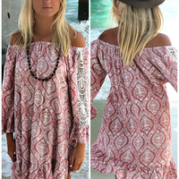 Tiki Stands And Coconut Juice Off The Shoulder Pink Print Ruffle Peasant Dress