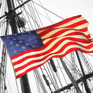 American Flag photograph, Nautical Print, Historic ship,  black and whitephoto,red white and blue,Patriotic home decor