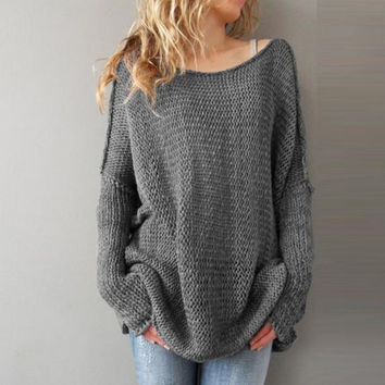 Fall  Oversize Sweaters  Women Korean  Loose Long Sleeve Solid Long Style Sweater Jumpers Female Knitwear #WY BL