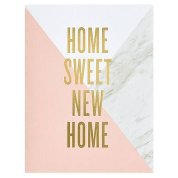 Marble Colorblock Home Sweet New Home Greeting Card