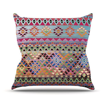 "Nika Martinez ""Tribal Native"" Red Pattern Outdoor Throw Pillow"
