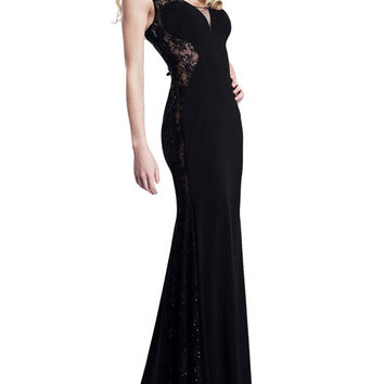 Black Sleeveless Sheer Lace Cut-Out Evening Dress