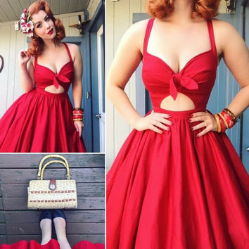 Red Deep V Neck  Homecoming Dress, Bowknot A Line Strapless Homecoming Dress