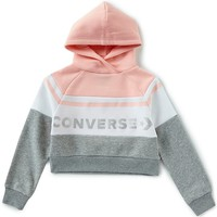 Converse Big Girls 7-16 Long-Sleeve Color Block Sueded Fleece Cropped Hoodie | Dillards