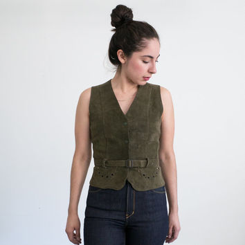 Olive Green Suede Vest / Vintage Vest With Belt / Women's Small Vest