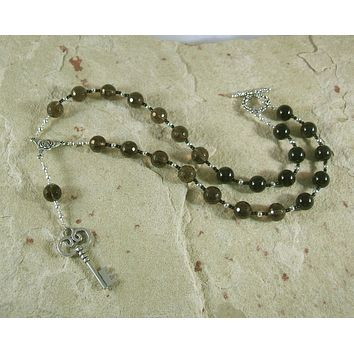 Hekate Prayer Bead Necklace in Smoky Quartz and Black Onyx:  Greek Goddess of Magic, Witchcraft