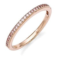 Sterling Silver Rose Gold-Plated Pink CZ Brilliant Embers Ring
