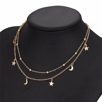MoonStar Star Moon Pendant Necklace