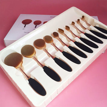 10 Pcs Professional Makeup Brushes Synthetic Rose Gold Oval Makeup Brush Set Face Powder Foundation Cosmetics Brush Tools #85784