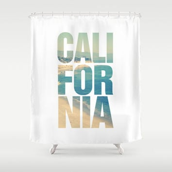 California Vintage Beach Summer Typography Shower Curtain by RexLambo