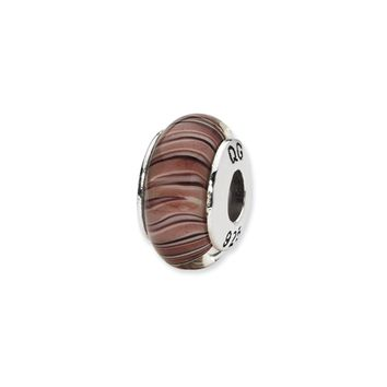 Mauve/Purple Hand-Blown Glass Bead & Sterling Silver Charm, 13mm