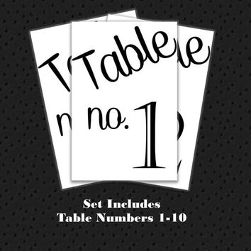 Table Numbers 1-10 for Wedding or other event. Printable, Instant Download.  Black and White Table Numbers Simple Casual table numbers 4x6.