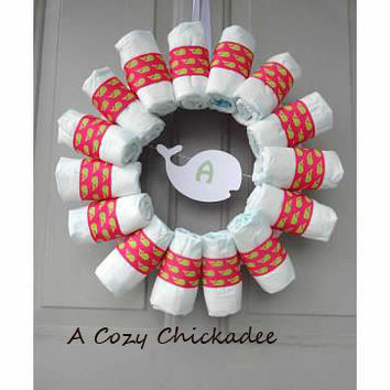 Custom Baby Whale Diaper Wreath