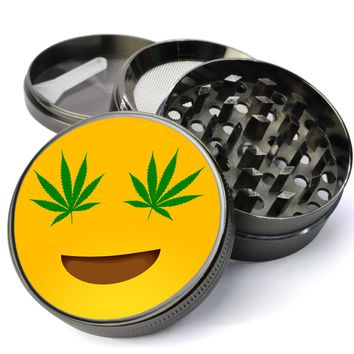 Emoji  Pot Leaf Eyes #72 Extra Large 5 Piece Spice  Herb Grinder with / Catcher - The Best Metal Herb Grinder For Sale