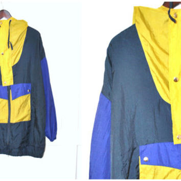90s COLOR BLOCKED windbreaker vintage 1990s oversized cinched HOODED light jacket