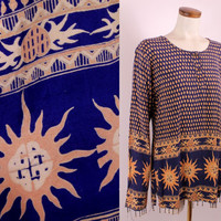 Vintage 90s - Blue Ethnic Paisley Sun & Hearts - Brass Bell Beaded Fringe - Long Sleeve Tunic Blouse Top Shirt - Hippie New Age Boho
