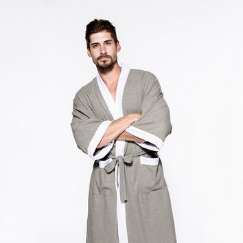 Men and Women Sleepwear Nightwear Kimono Robe Soild Winter Autumn Casual Cotton Bathrobe Belt Elegant Bathroom Spa Robe