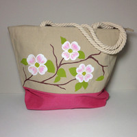 Waterproof Lined Canvas Tote Bag with Hand Painted Dogwood Flowers