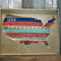 Handmade 3D Rustic Chic Wood USA Wall Decor Map of The United States of America