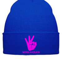 WORKAHOLICS embroidery  - Beanie Cuffed Knit Cap