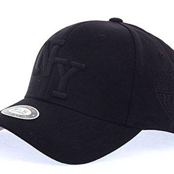 POPKORS New York Embroidery Stretch Fit Flex-Fit Span Fitted Baseball Cap Trucker Hat