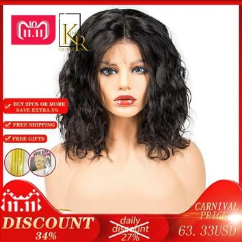 Lace Front Human Hair Bob Wigs For Women Pre Plucked With Black Remy Hair 130% Wavy Short Wigs Brazilian King Rosa Queen