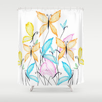 colorful flying butterflies Shower Curtain by Color and Color