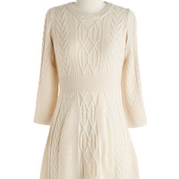 ModCloth Short Length Sweater Dress Familiar Flavor Dress in Vanilla