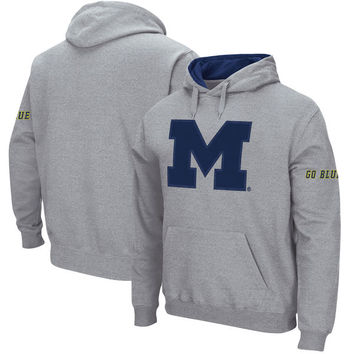 Michigan Wolverines Big Team Logo Pullover Hoodie – Gray