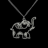 Women Jewelry Vintage Silver Hollow Out Elephant Pendant Necklace 26""