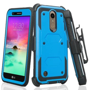 LG K10 (2018) Case, K30, Premier Pro, K10 Plus, K10α, X4 Plus, X410, MS245, Triple Protection 3-1 w/ Built in Screen Protector Heavy Duty Holster Shell Combo Case - Blue