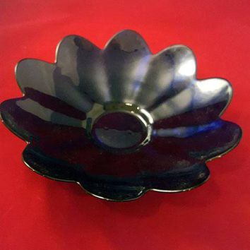 Yaros Casa Murano Cobalt Glass Flower Bowl
