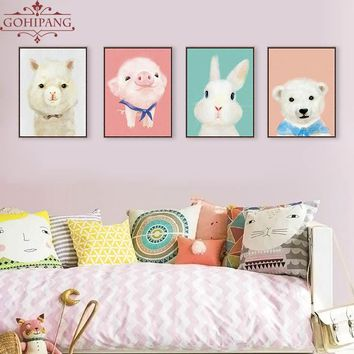 Gohipang Kawaii Animal Penguin Rabbit Bear Llama Poster Print Nursery Baby Kids Room Wall Art Picture Home Decor Canvas Painting