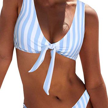 Women's Sexy Detachable Padded Cutout Push Up Striped Bikini Set Two Piece Swimsuit