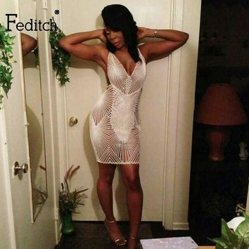 Feditch summer dress 2018 sequin Strap Deep V Neck women Sexy Dress Backless Bodycon Elegant Mini Dresses clubwear vestidos