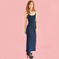 Vintage Sheer Maxi Dress Blue Metallic Sparkly Ribbed Black Rave Club Festival XS S M L