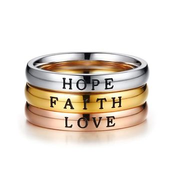 2018 New HOPE FAITH LOVE Rings for Women Three Tone Stainless Steel Girls Best Friends Party Finger Ring Accessories Jewelry