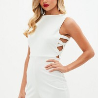Missguided - White Cut Out Side Romper