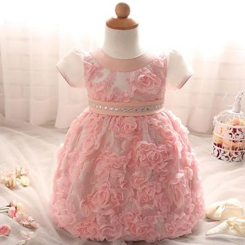 Infant Christening Gowns Baby Girl Clothes Flower Girls Dresses For Wedding Party 1 2 Years Birthday Dress For Baby Girl Outfits
