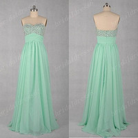 2014 Mint Sweetheart Cyrstals Strapless A-Line Long Ruffled Bridesmaid Dress,Floor Length Chiffon Evening Party Prom Dress