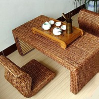 Hand Made Raw Straw Table And Legless Floor Chair Set Of 5 Pieces