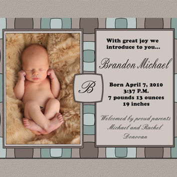 Custom Baby Boy Birth Announcement / Printable Photo Card - Squares